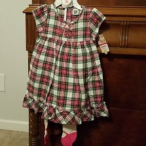 👧NWT Carters Plaid Dress w/Tights Size 12 Months